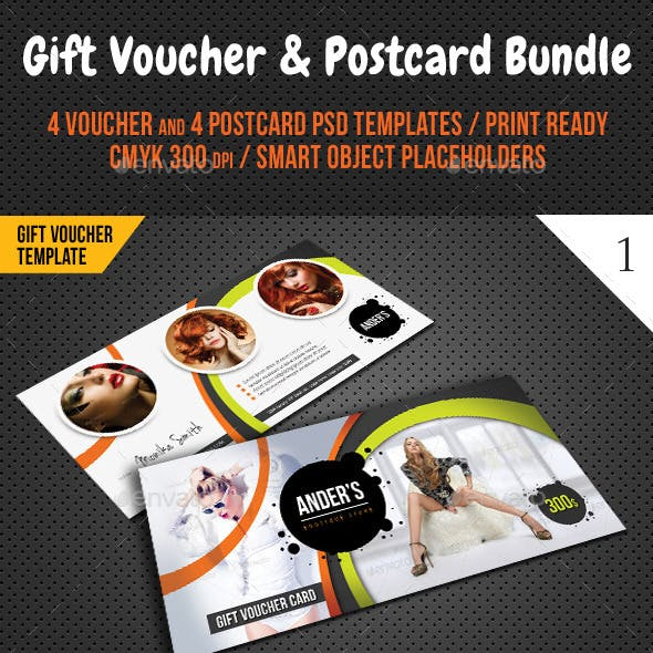 8 in 1 Fashion Gift Voucher and Postcard Bundle