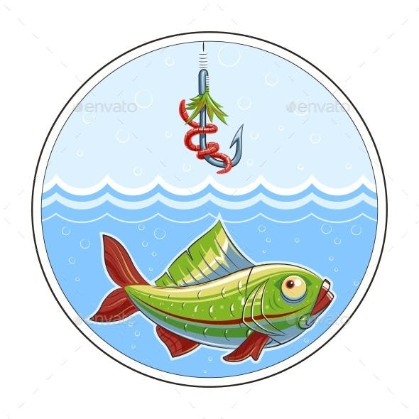 Fishing. Fish in Water and Fishhook