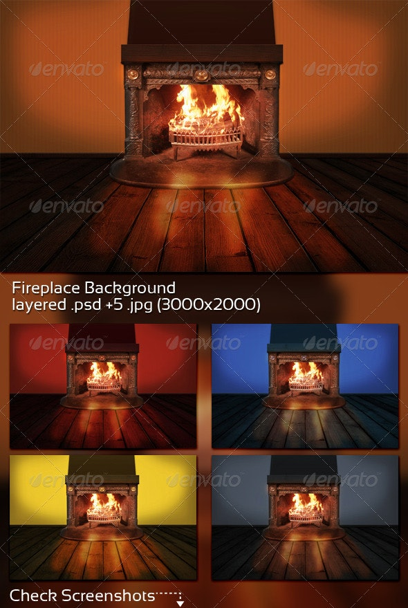 Fireplace Background - 3D Backgrounds
