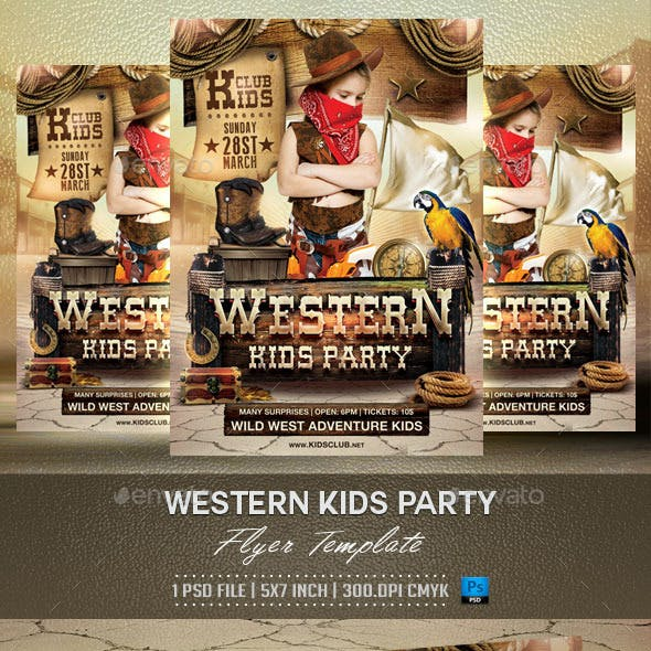 Western Kids Party Flyer Template
