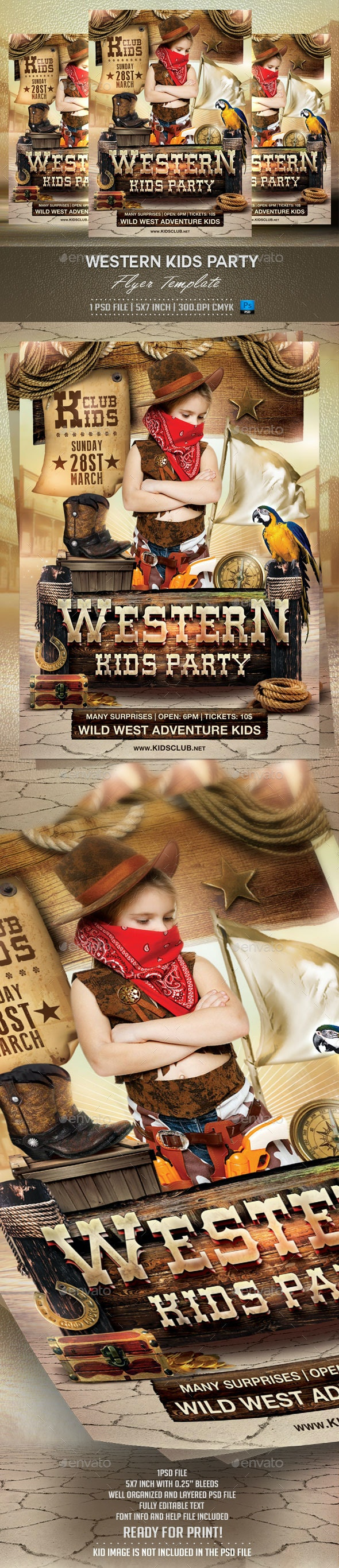 Western Kids Party Flyer Template - Events Flyers