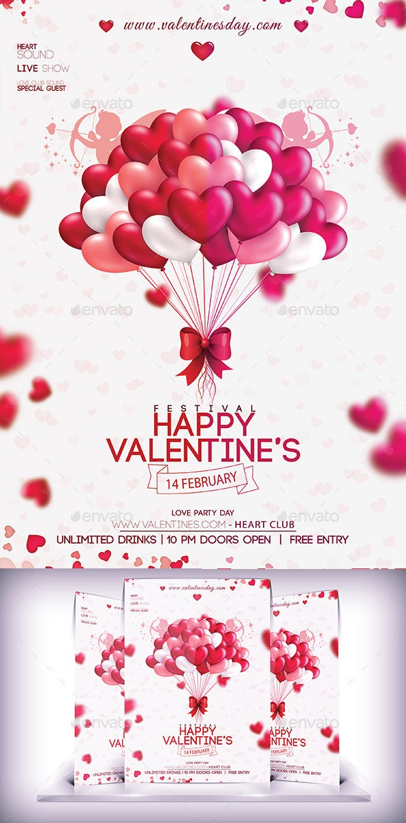 Valentines Party Day Flyer - Flyers Print Templates