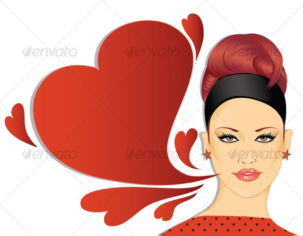 Retro woman with speech bubble - People Characters
