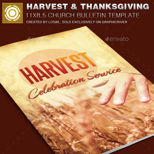 Harvest and Thanksgiving Church Bulletin Template