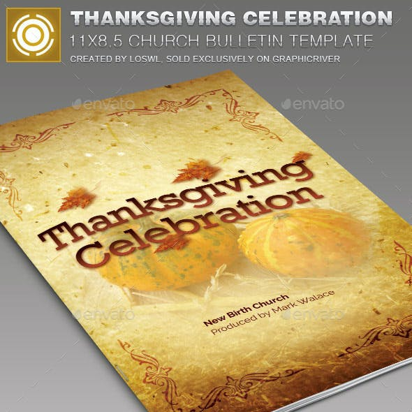 Thanksgiving Celebration  Church Bulletin Template