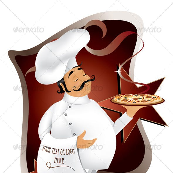 Chef with pizza design