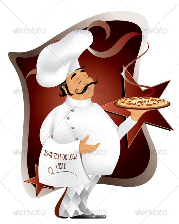 Chef with pizza design - Food Objects