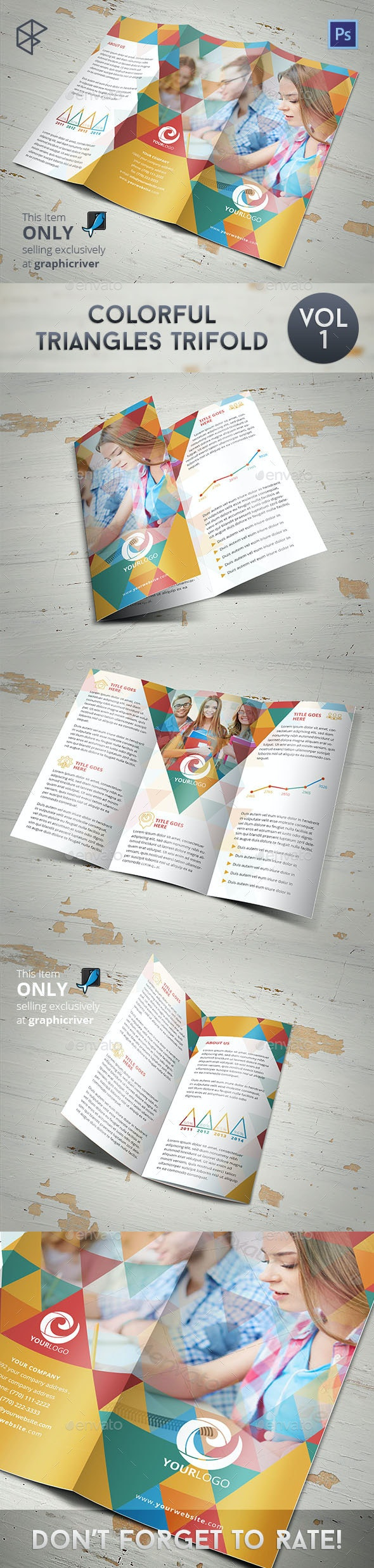Colorful Triangles Trifold - Corporate Brochures