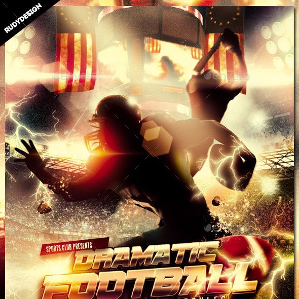 Dramatic American Football Flyer Template