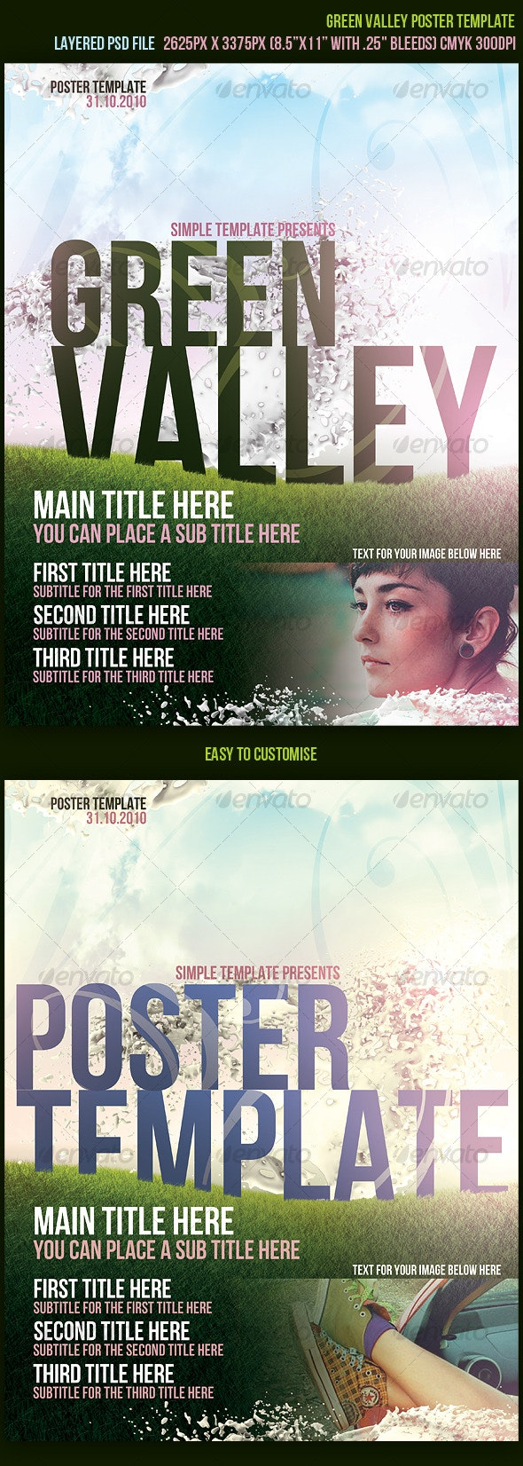 Green Valley Poster Template - Clubs & Parties Events