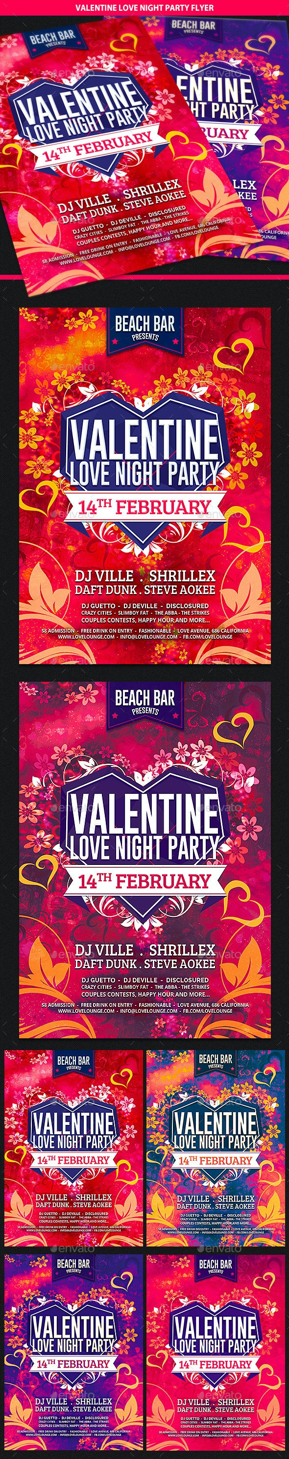 Valentine Love Night Party Flyer - Clubs & Parties Events