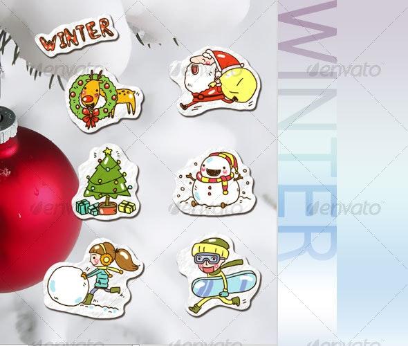 Winter Fun Sticker Set - Characters Illustrations
