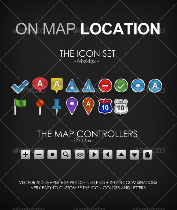 On Map Location - Web Icons