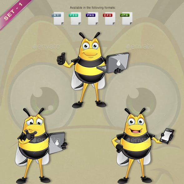 Chubby Bee Character - Set 1