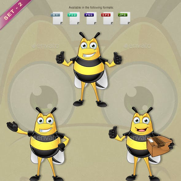 Chubby Bee Character - Set 2