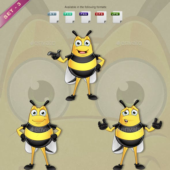 Chubby Bee Character - Set 3