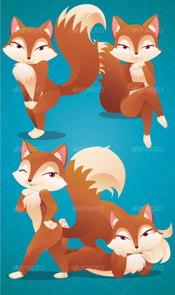4 Sexy Fox Pose - Animals Characters