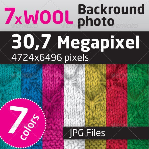 Wool Texture, Background in 7 Colors