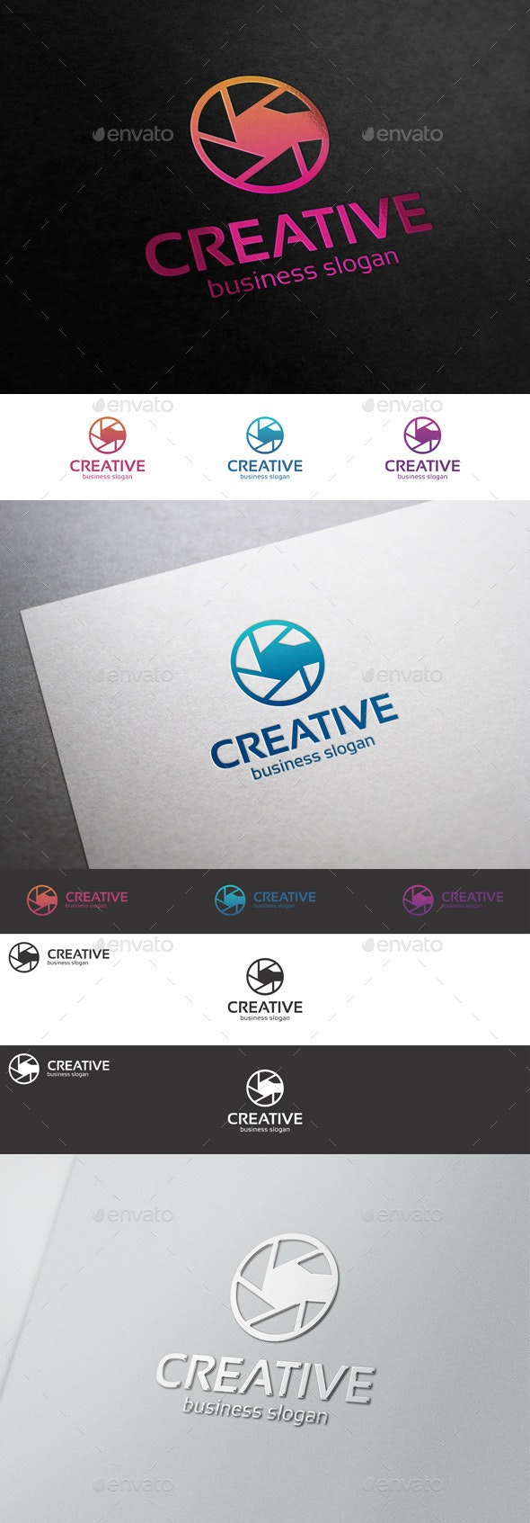 Creative Photo Logo - Diaphragm C Letter - Symbols Logo Templates