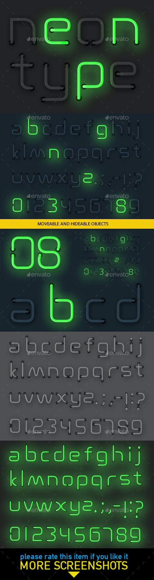 Neon Alphabet - Decorative Symbols Decorative