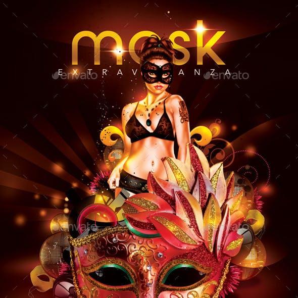Mask Extravaganza Party In Club Flyer