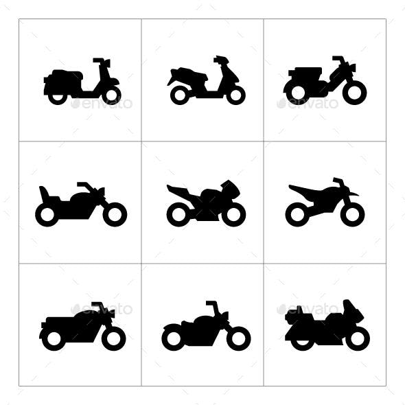 Set Icons of Motorcycles