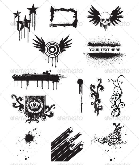 Grunge design elements - Decorative Symbols Decorative