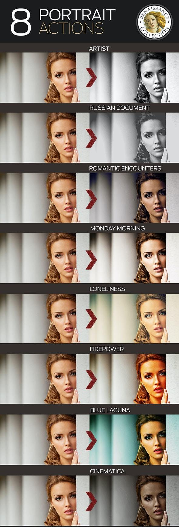 8 Renaissance Portrait Actions for Photoshop - Photo Effects Actions