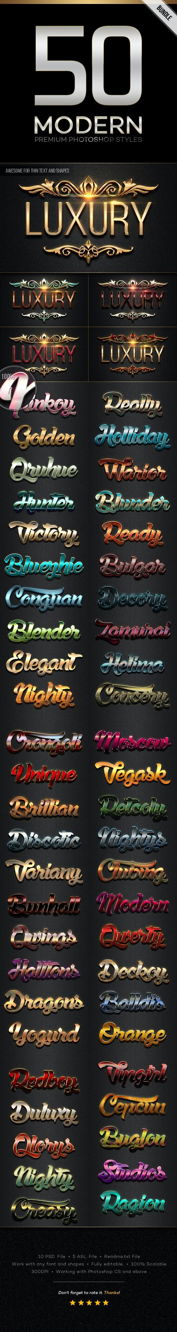 50 Modern Styles Bundle - Text Effects Styles