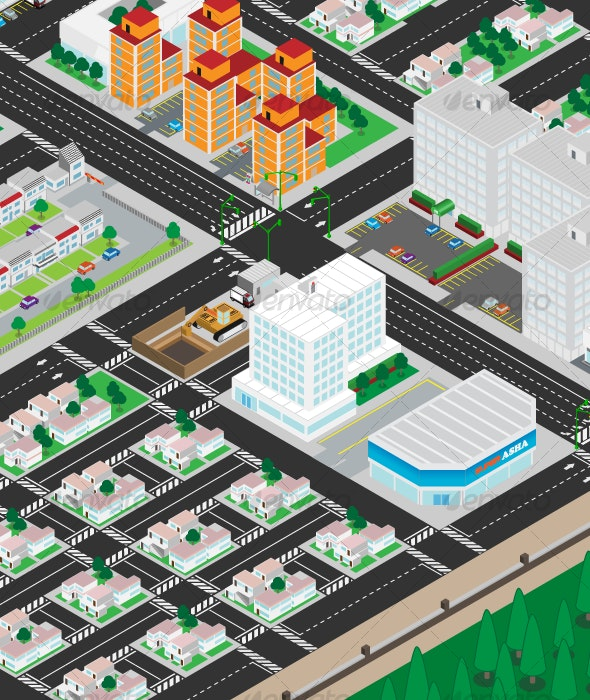 Isometric Latinoamerican City Pandeania - Buildings Objects