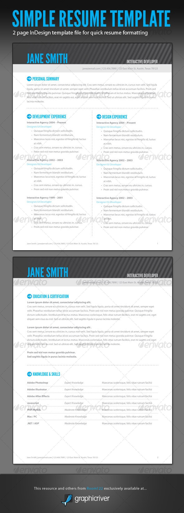 Simple Resume - InDesign Template