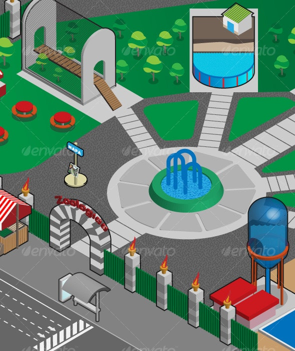 Isometric Zoo Pandeania Extension - Buildings Objects