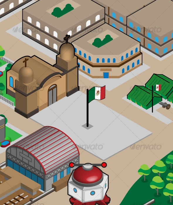 Historic Mexican Isometric Downtown - Buildings Objects