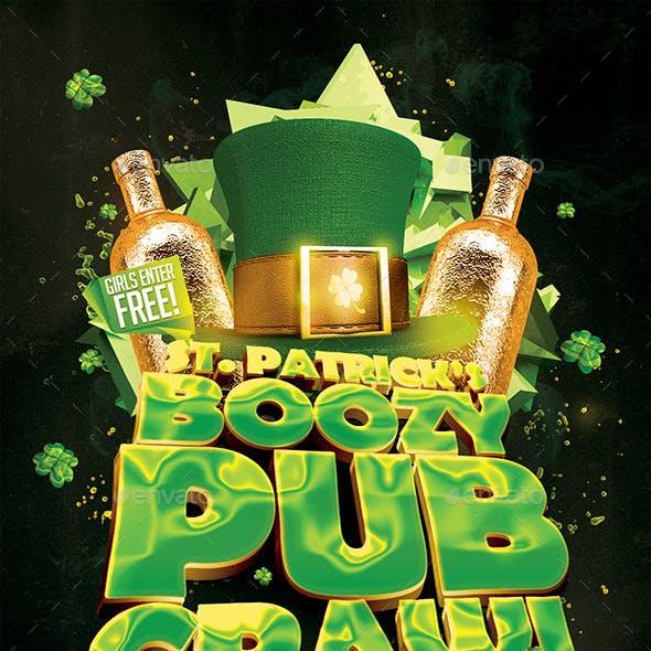 St. Patty's Boozy Pub Crawl Flyer Template