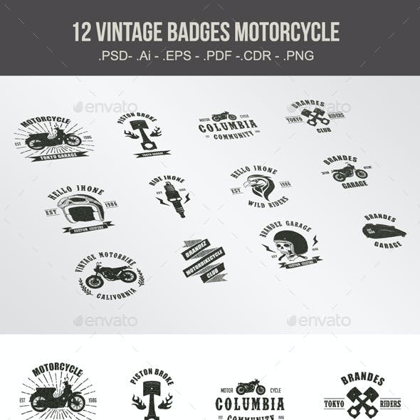Vintage Badges Motorcycle