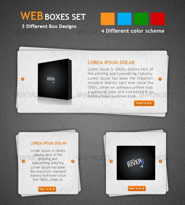Web Boxes Set - Sliders & Features Web Elements
