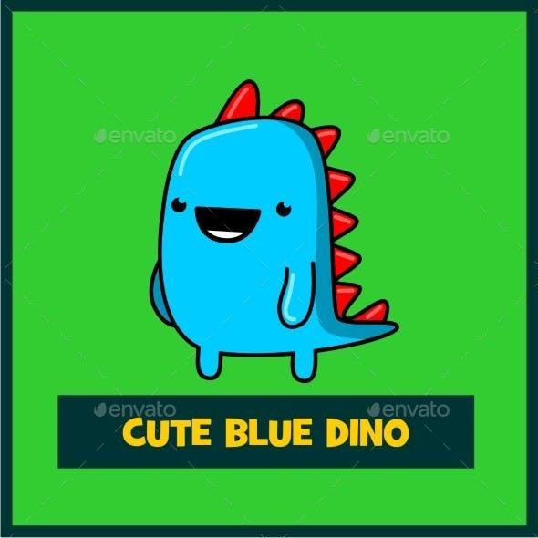 Cute Blue Dino Mascot