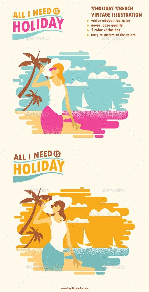 Holiday Beach Illustration - Seasons/Holidays Conceptual