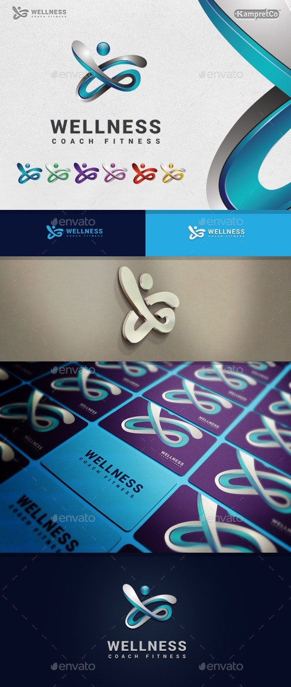 Fitness Wellness Logo - 3d Abstract