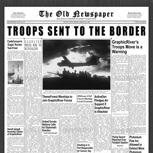 1950s Newspaper Template Front Page & Inside Page