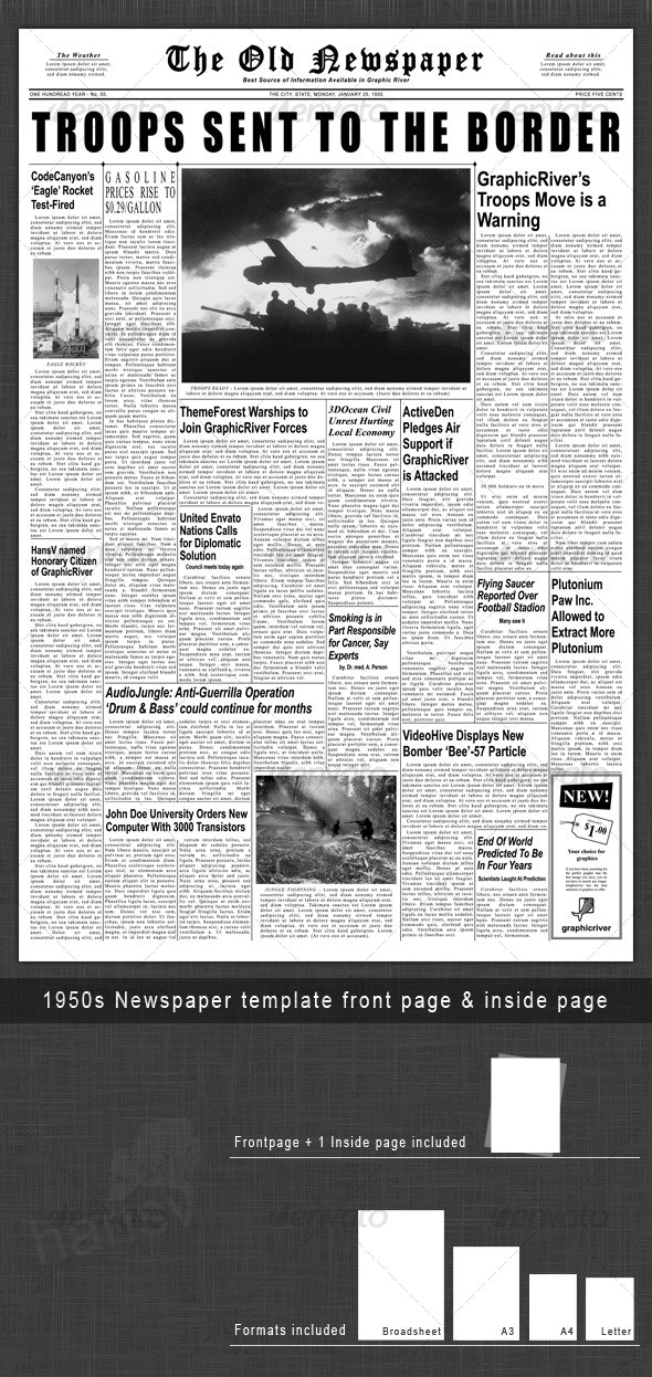 1950s Newspaper Template Front Page & Inside Page - Miscellaneous Print Templates