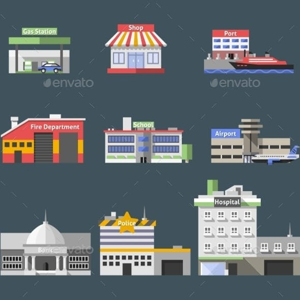 Government Flat Buildings Set