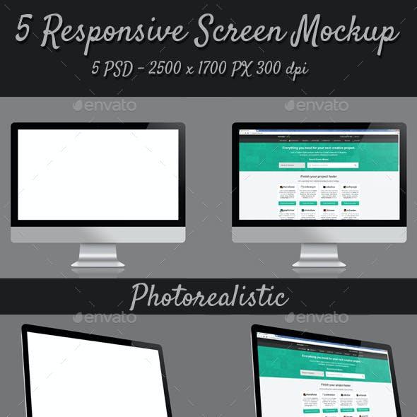 5 Responsive Screen Mockup
