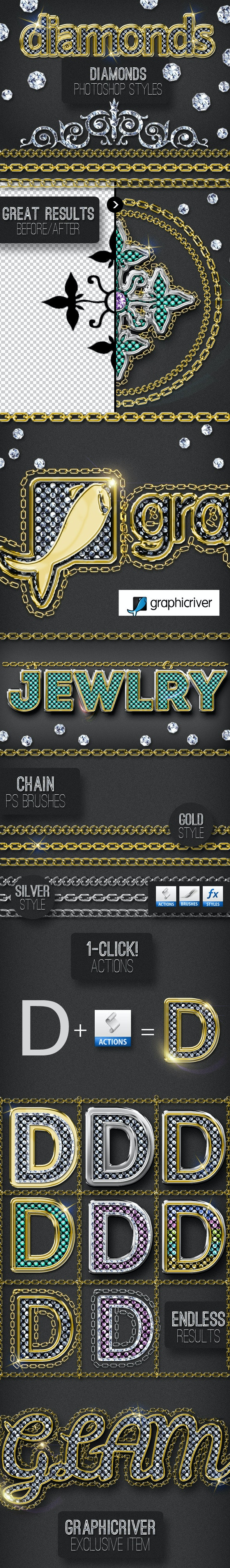 Bling Bling Diamond Photoshop Style Creator - Utilities Actions