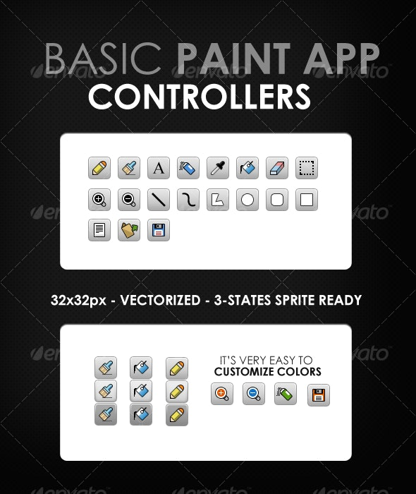 Basic Paint App Controllers - Web Icons