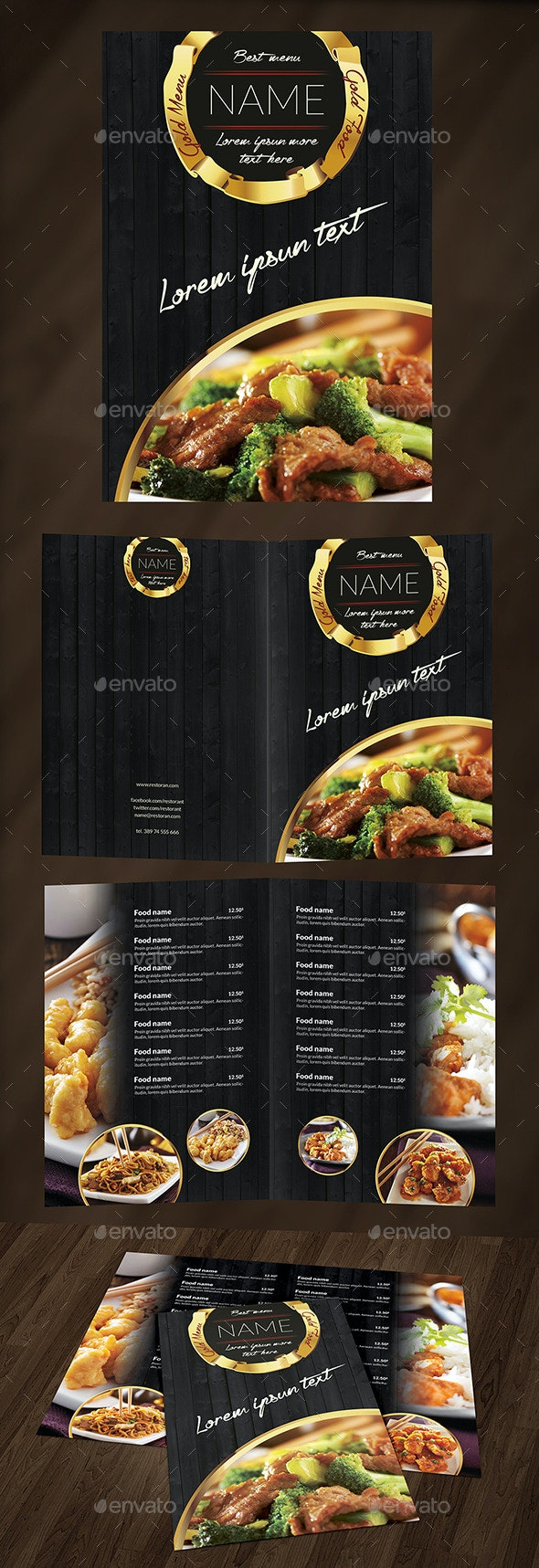 Gold Food Menu - Food Menus Print Templates