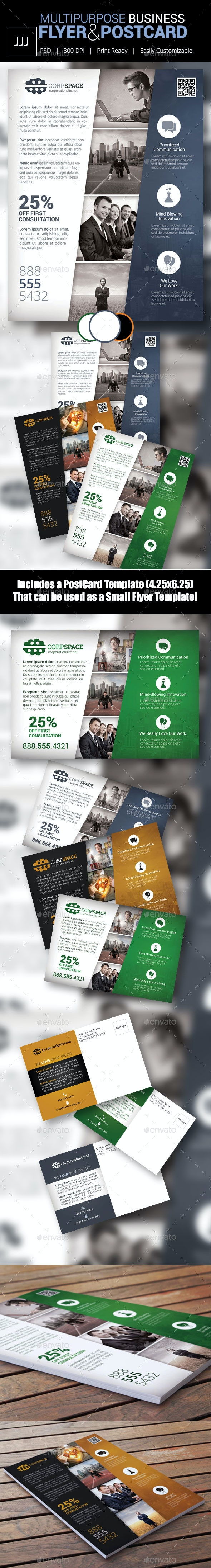 Business Flyer 44 with Postcard Option - Corporate Flyers