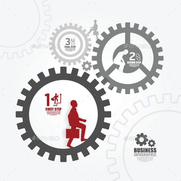 Businessman in Gear Success Concept