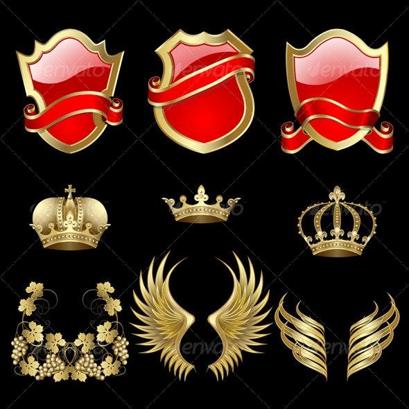 Set of heraldic elements - Decorative Symbols Decorative