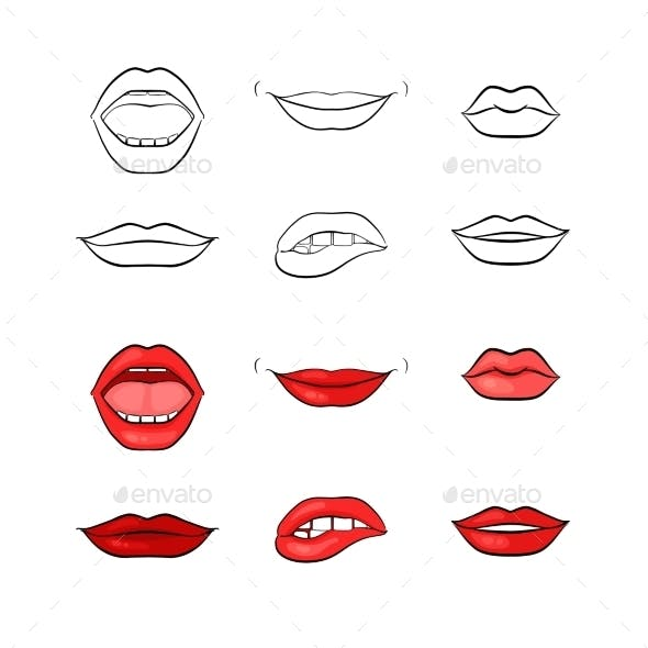 Woman Lips and Mouth Silhouettes